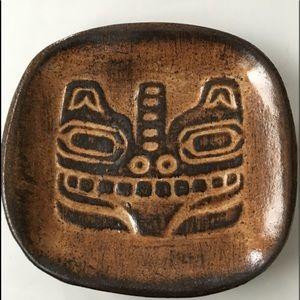 "Vintage 4"" HAIDA TOTEM FACE ceramic dish signed"